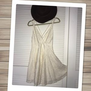NWT Crochet Lace Overlay Strappy Skater Dress